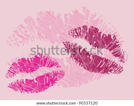 isolated grunge lips print on pink - illustration - stock vector