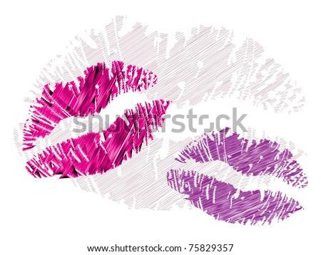 isolated grunge lips print on white - illustration - stock vector