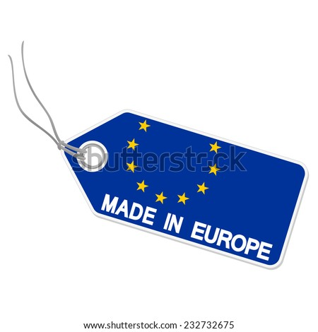 isolated hang tag with europe flag and text MADE IN EUROPE - stock vector