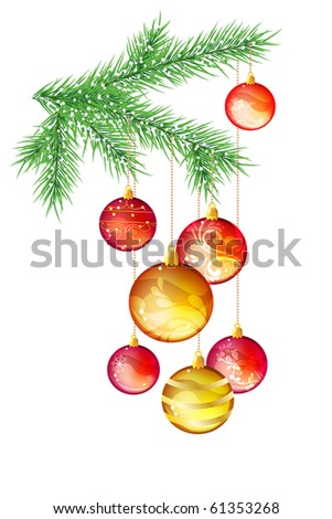 Isolated hanging glass christmas balls - stock vector