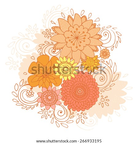 Isolated Happy Spring is Here Doodle Flower Card, Vector Illustration - stock vector
