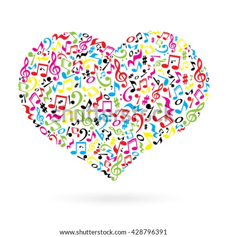 Isolated heart made of notes on white background. Heart shaped pattern. Musical art. Colorful musical notes.