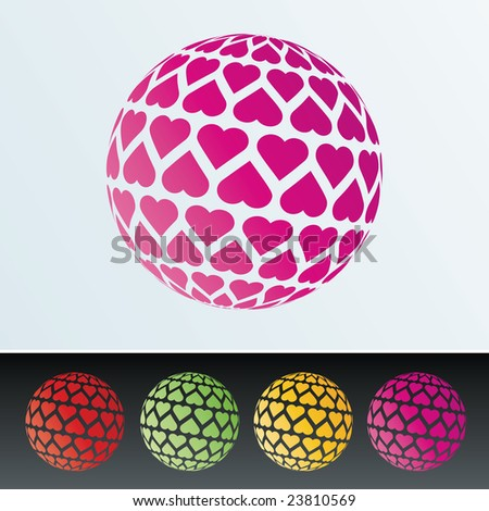 Isolated hearts sphere pattern