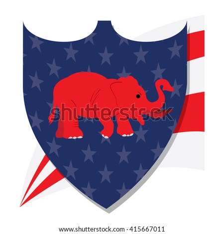 Isolated heraldry shield with a republican symbol on a white background
