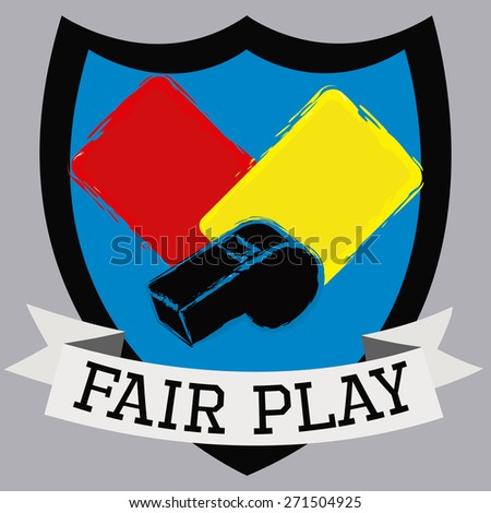 Isolated heraldry shield with soccer cards and a whistle. Vector illustration - stock vector