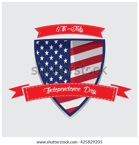 Isolated heraldry shield with some ribbons with text and the american flag