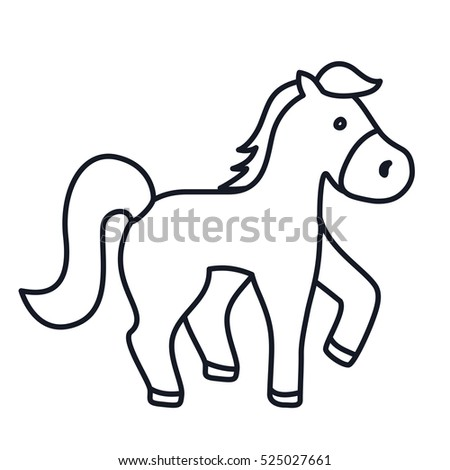 Cartoon horse on head flat
