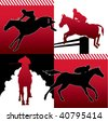 Isolated horse racing silhouettes. Vector illustration. - stock photo