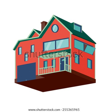 Isolated house. Isometric detached house with a garage. - stock vector