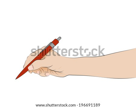 isolated human hand side view holding ballpoint writing vector illustration