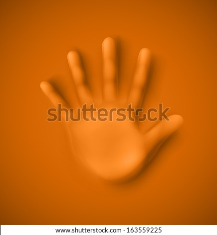 Isolated human palm. Illustration contains transparency and blending effects, eps 10 - stock vector