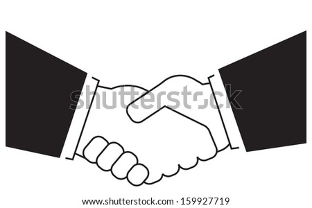 isolated icon with business handshake silhouette  - stock vector