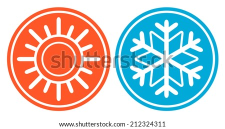 isolated icon with snowflake and sun - season specific icon - stock vector
