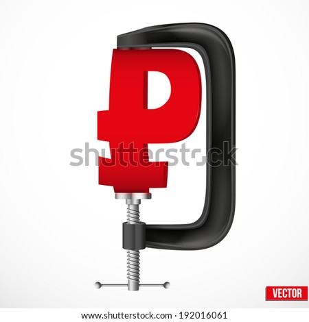 Isolated illustration of a currency symbol ruble being squeezed in a vice. Vector. - stock vector