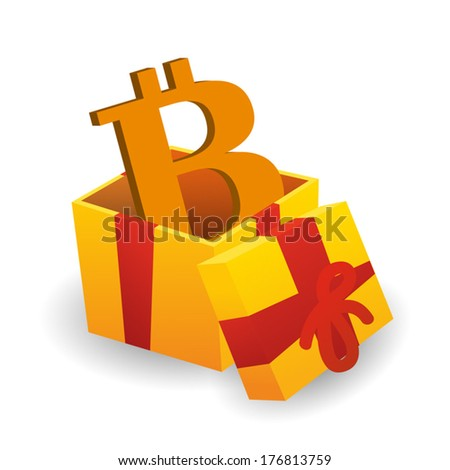 Isolated illustration of a present with a bitcoin - stock vector