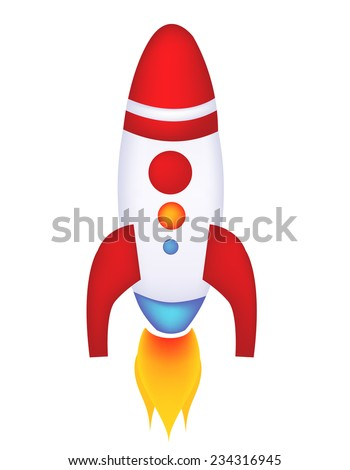 Isolated illustration of a rocket / spaceship on white background - stock vector