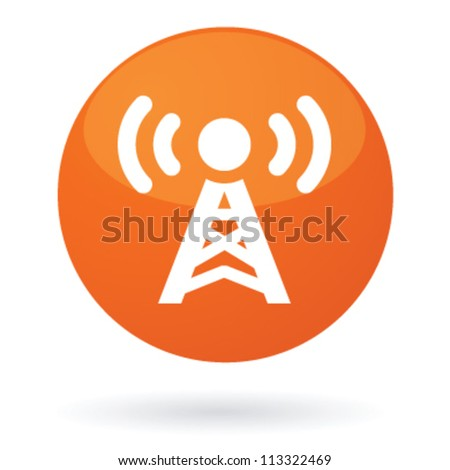 Isolated illustration of button with radio antenna sending signal on air - stock vector