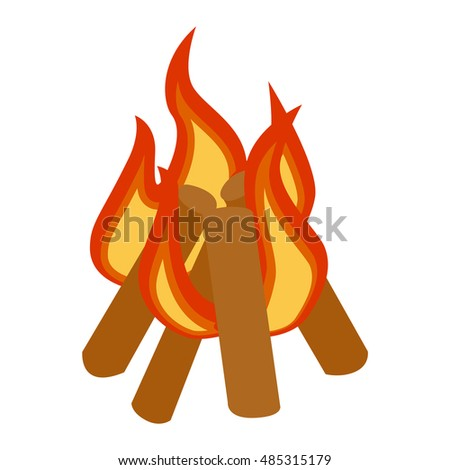 Isolated illustration of campfires logs burning bonfire. Bonfires on white background. Vector bonfire isolated and wood explosion glowing bonfire isolated. Red nature burning blazing power vector.