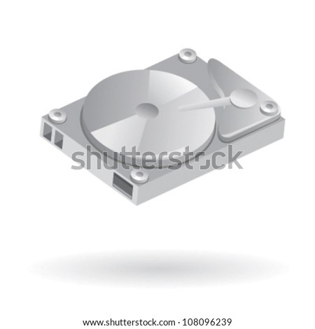 Isolated illustration of computer hard disk drive