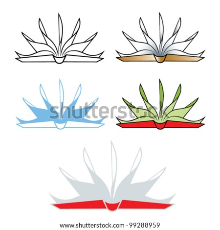 Isolated illustration of open book - vector - stock vector