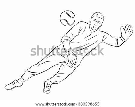 isolated illustration soccer goalie , black and white drawing, white background - stock vector