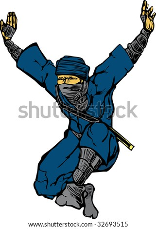 Isolated image of single leaping ninja. - stock vector