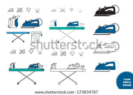 Isolated Iron Hand Steamer Symbols On Stock Vector 573834787