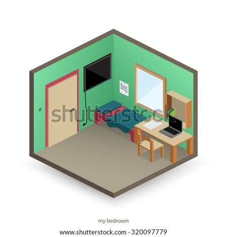 isolated, isometric bedroom with decorative objects and flat style icons. vector interior design - stock vector