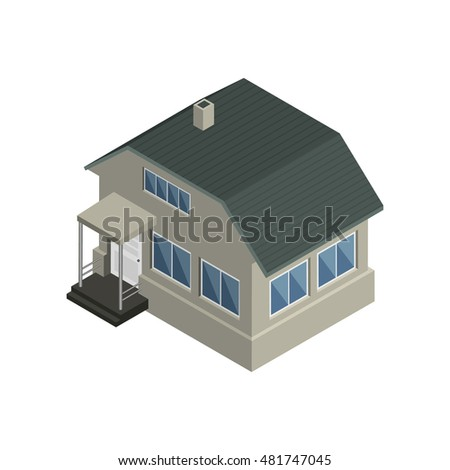 Isolated isometric gray house. Vector illustration.