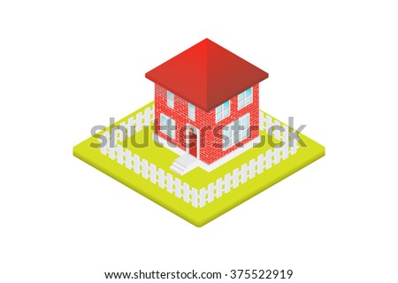 Isolated isometric red house, Vector illustration. - stock vector
