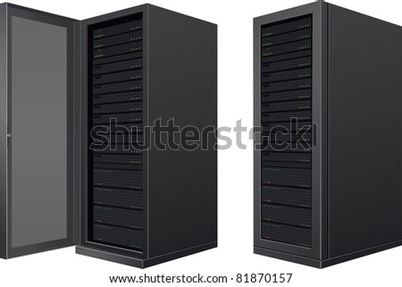 Isolated IT enclosures; door open and door closed - stock vector