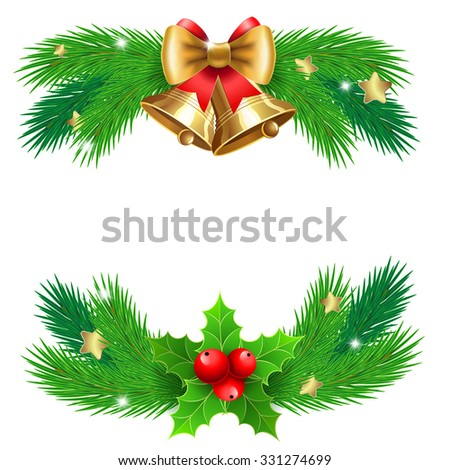 Isolated jingle bells with  bow and fir tree branches. Vector Christmas illustration for  Christmas posters, icons, Christmas greeting cards, print and web projects. - stock vector