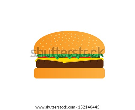 isolated juicy cheese burger vector - stock vector