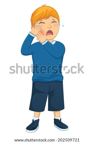 Isolated Kid Tooth Pain Vector Illustration - stock vector