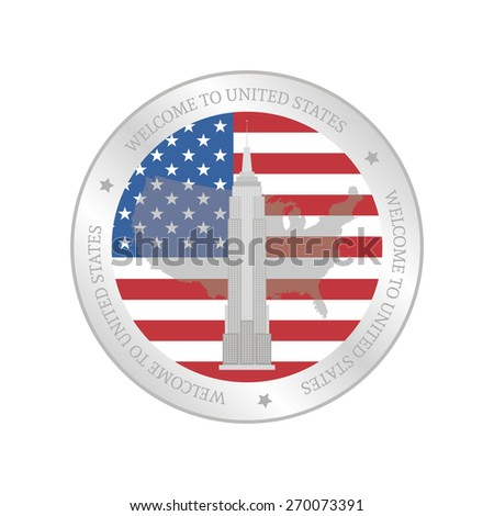 Isolated label with an american flag and a monument. Vector illustration - stock vector