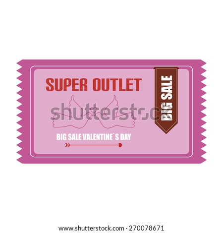 Isolated label with text, birds and a heart for sales. Vector illustration
