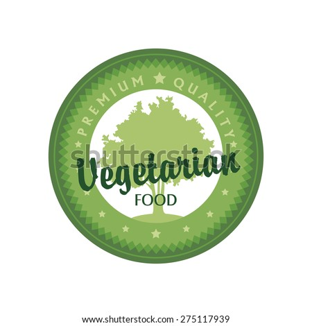 Isolated label with text for vegetarian food. Vector illustration - stock vector