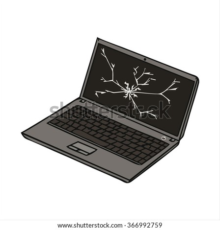 Isolated laptop screen cartoon vector