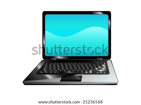 isolated laptop with blue screen, vector