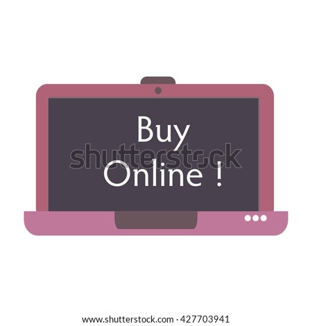 Isolated laptop with the text buy online written in the middle of its screen - stock vector