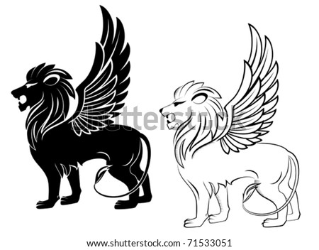 Isolated lion with wings for heraldry design - also as emblem. Jpeg version also available in gallery - stock vector