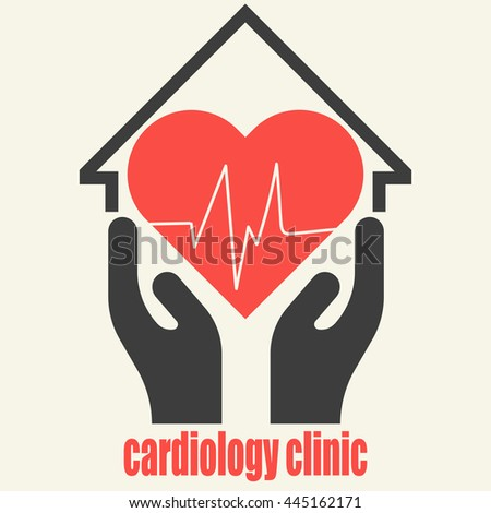 Isolated logo with red heart and two hands for cardiology clinic, cardiac care center. Red heart with two hands vector icon for your business. Cardiology icon. Modern clinic logo design. - stock vector