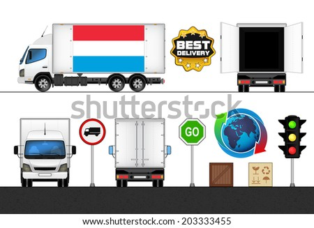 isolated Luxembourg flag labeled truck in transport collection vector illustration - stock vector