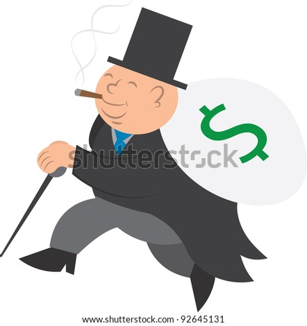 Isolated man walking with bag of money