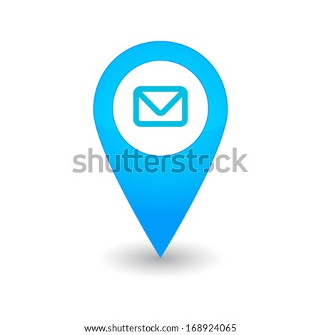 Isolated mark map with a mail icon