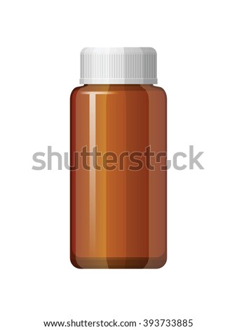 Isolated medicine bottle on white background. Empty medicine bottle for drugs, tablets, capsules. Pharmaceutic container. Vector medicine bottle