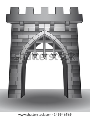 isolated medieval castle gate on ground vector illustration - stock vector