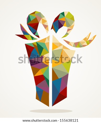 Isolated Merry Christmas colorful present geometric composition. EPS10 vector file organized in layers for easy editing. - stock vector