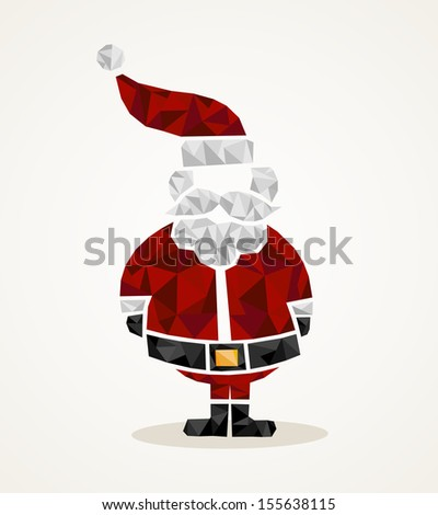 Isolated Merry Christmas colorful Santa Claus geometric composition. EPS10 vector file organized in layers for easy editing. - stock vector