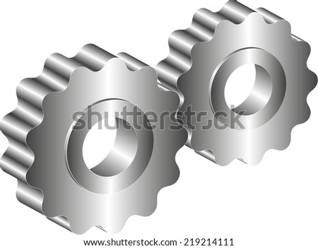 isolated metal gear - stock vector
